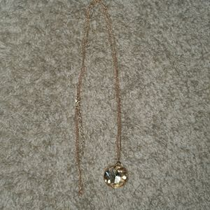 Gold amber crystal necklace
